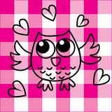 Sweet little owl on checkered background Stock Images