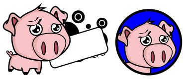 Sweet Little pig big head expression copyspace Stock Photography