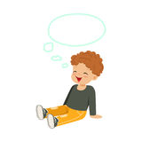 Sweet little redhead boy dreaming with a thought bubble sitting on the floor, kids imagination and fantasy, colorful. Character vector Illustration isolated on Stock Photos