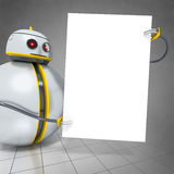 Sweet little robot with a board Royalty Free Stock Photos