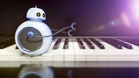 Sweet little robot runs over piano key Stock Photo