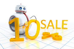 Sweet little robot sale. A sweet little robot giving 10 percent on sale Royalty Free Stock Image