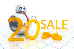 Sweet little robot sale. A sweet little robot giving 20 percent on sale Stock Photo
