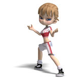 Sweet little toon girl in short trousers. 3D rendering with clipping path and shadow over white Stock Photography