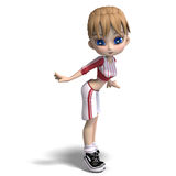 Sweet little toon girl in short trousers Royalty Free Stock Images