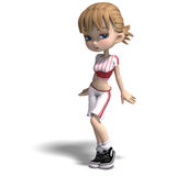 Sweet little toon girl in short trousers. 3D Stock Photo