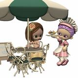 Sweet Little Waitress - Toon Figure Stock Photos