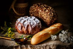 Sweet loaf of white bread powdered with sugar, brown bread, loaf of french bread on a rustic background. Stock Images