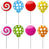 Sweet Lollipop Collection. Collection of eight colorful sweet lollipop, wrapped and unwrapped, isolated on white background. Eps file available Stock Photography