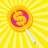 Sweet  lollipop with a dollar sign Stock Photography