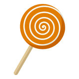 Sweet Lollipop Flat Icon Isolated on White Stock Image