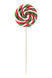 Sweet lollipop with green and red stripes Royalty Free Stock Photo