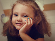 Sweet long hair kid girl with happy smiling looking Stock Photos