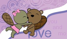 Sweet love baby boy and girl kissing beaver cartoon background Royalty Free Stock Photography