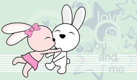 Sweet love baby boy and girl kissing bunny cartoon background Royalty Free Stock Images