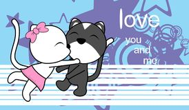 Sweet love baby boy and girl kissing cat cartoon background Stock Images