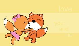 Sweet love baby boy and girl kissing fox cartoon background Royalty Free Stock Photo