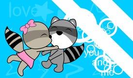 Sweet love baby boy and girl kissing raccoon cartoon background Royalty Free Stock Photos