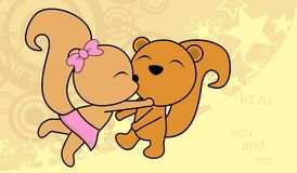 Sweet love baby boy and girl kissing squirrel cartoon background Royalty Free Stock Images