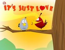 Sweet love birds. Vector cartoon illustration, Valentine day concept Royalty Free Stock Photos