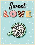 Sweet love cocoa hot chocolate with marshmallow tasty postcard. Cute cartoon poster design vector illustration