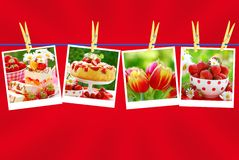 Sweet love collection on red background Stock Photo
