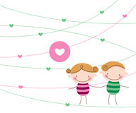 Sweet love couple. Happy merry cute sweet love couple children toy Royalty Free Stock Images