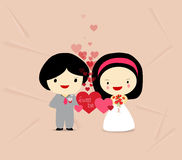 Sweet love couple with hearts Royalty Free Stock Images