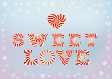 Sweet love inscription on blue soft background with small heart bokeh. Happy Valentine's day, sweet love concept. Red white striped phrase made of stylised Royalty Free Stock Photo