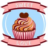 Sweet love poster - tasty sugar cupcake heart topping. Comfort anti stress food. Valentine theme vector illustration for gift card certificate banner sticker Stock Photos