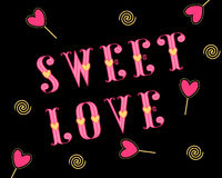 Sweet love stylish love card with pink hearts on a black. Valentines Day wedding love greeting card with sweet love inscription and candy heartsl on a black Royalty Free Stock Photos