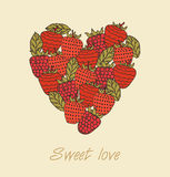 Sweet love. Template with berries in heart shape Royalty Free Stock Photos