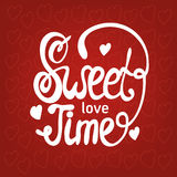 Sweet love time. Hand drawn brush lettering. Sweet love time concept. Hand drawn brush lettering. Vector calligraphy illustration stock illustration