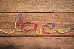 Sweet love word form yarn for wedding and valentine Stock Images