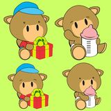 Sweet lovely baby camel cartoon diaper set Stock Photos