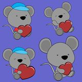 Sweet lovely baby mouse cartoon set Stock Photography