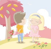Sweet lovers -Man giving girl a bouquet of roses. Cute cartoon illustration  / EPS 10 Royalty Free Stock Image