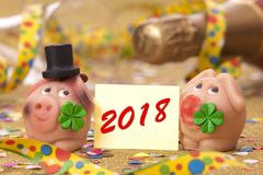 Sweet lucky charm with clover leaf for new year 2018 Royalty Free Stock Photography