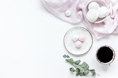 Sweet lunch with marsh-mallow and spring flowers for woman on white background top view mockup Royalty Free Stock Image