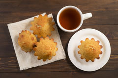 Sweet lush cupcake with tea Stock Photo