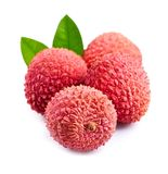 Sweet lychees fruits with leaves . Royalty Free Stock Images