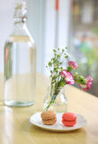 Sweet macaron with flower Stock Photos