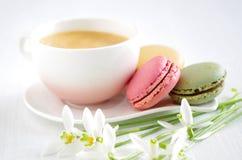 Sweet macarons with coffee Stock Photography