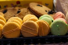 Sweet macarons. Colorful macaroons in a gift box . Colorful macaroons in a gift box . Sweet macarons stock photography