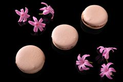 Sweet macarons or macaroons. Decorated with blooming flowers on a black background stock images
