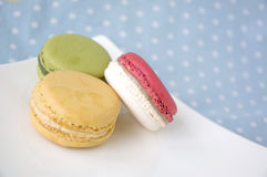 Sweet macarons on polka dot Stock Images