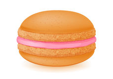 Sweet macaroon dessert on white. Orange and strawberry flavour. Orange and pink colors Stock Illustration