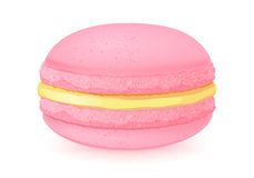 Sweet macaroon dessert  on white. Strawberry and lemon flavour. Pink and yellow colors Stock Illustration