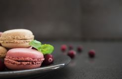 Sweet macaroons or macarons with cranberry on dark concrete background Stock Photo