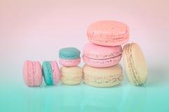 Sweet macaroons. On pastel tone background Royalty Free Stock Photography